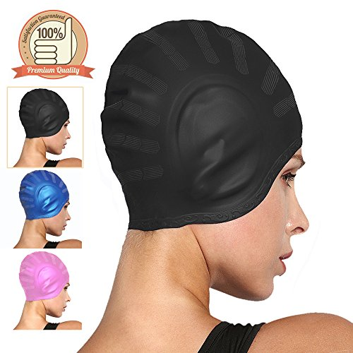 COSOOF Silicone Swimming Caps for Long Hair Waterproof Solid Swim Cap for Women Men Kids Boys and Girls for Short Hair with Ear Pocket Keep Hair - Swim Cap Ironman