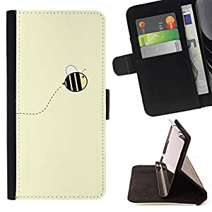 For Samsung Galaxy S4 Mini i9190 Cute Yellow Bumblebee Summer Beautiful Print Wallet Leather Case Cover With Credit Card Slots And Stand Function