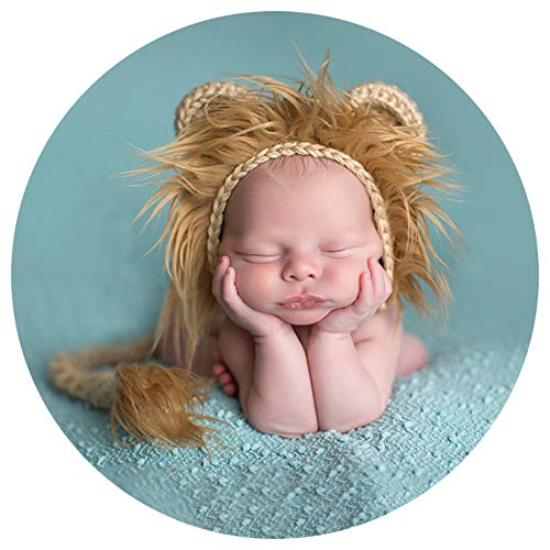 Baby Props Lion Hat Tail, Newborn Photography Handmade Knitted Clothes Photography Shoot -