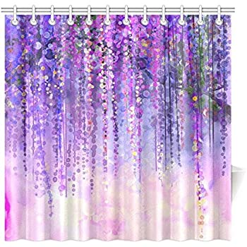 InterestPrint Wisteria Flowers Tree Home Decor, Purple Violet Floral  Polyester Fabric Shower Curtain Bathroom Sets