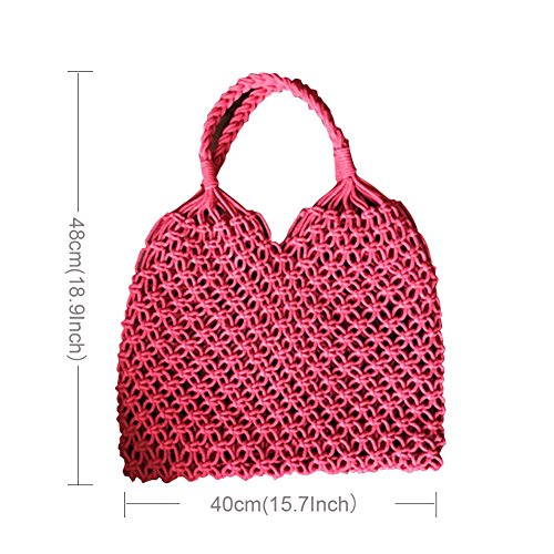 paglia classica mano rosso near tote tracolla tessuta a borsa acquisto borsa spiaggia Prom estiva a tessitura ecologica borsa nC0Hwq1xX
