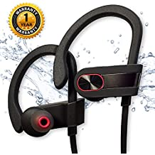 Wireless Bluetooth Headphones Siretek IPX7 Waterproof Sport Earphones with Mic Noise Cancelling In Ear Earbuds for Gym Running Jogging Workout True HD Stereo Sound Good Bass (Black Metallic)