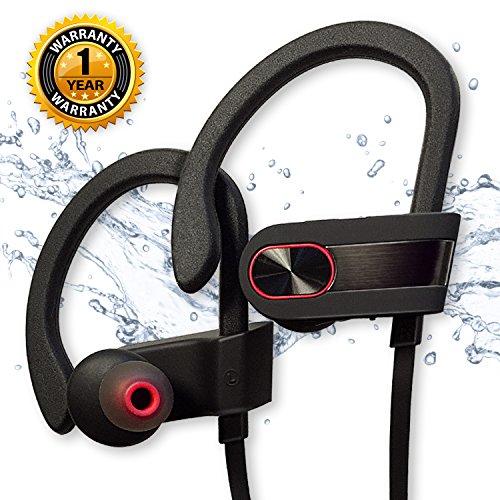 Wireless Bluetooth Headphones Siretek IPX7 Waterproof Sport Earphones with Mic Noise Cancelling In Ear Earbuds for Gym Running Jogging Workout True HD Stereo Sound Good Bass (Black Metallic)