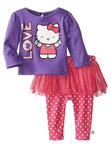 Hello Kitty Tutu Outfit (Hello Kitty Infant Girl Love 2 PC Outfit Purple Pink Dot Tutu Leggings 3-6m)