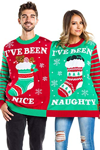 Tipsy Elves Men's and Women's Two Person Ugly Christmas Sweater - Conjoined Twin Couples Christmas Sweater Green