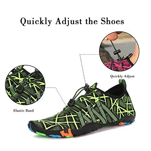Schwimmschuhe grün Für Streifen Rutschfest Herren Atmungsaktiv Unisex Schuhe Wasserschuhe Weiche Leicht Aquaschuhe Saguaro Damen Badeschuhe pIq6Fg