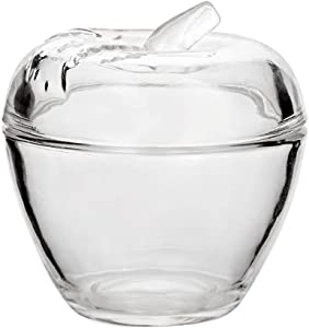 Crystal Glass Apple Shape Embossed Candy Dish Jewelry Box Sugar Bowl with Lid