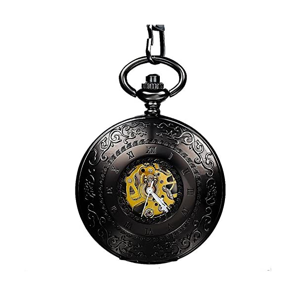 Carrie Hughes Men's Vintage Blue Roman Letters Steampunk Skeleton Mechanical Pocket Watch with Chain CHPW1 4