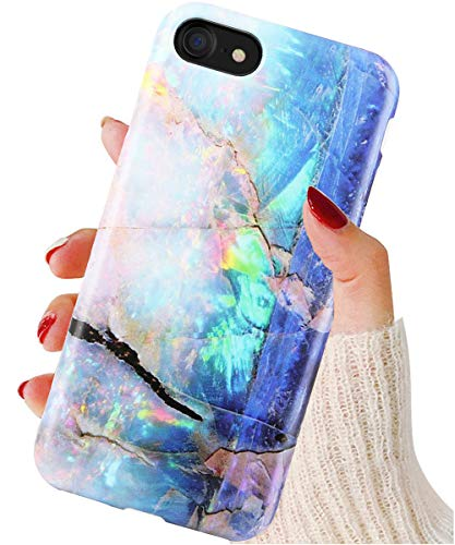 DICHEER iPhone 8 Case,iPhone 7 Case Cute Opal Marble Design for Women Girls,Clear Bumper Glossy TPU Silicon Rubber Soft Cover Easy Grip Anti-Scratch Protective Phone Case for iPhone 7 8