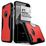 iPhone 6 Case, Fits iPhone 6s Black SaharaCase Viper Bonus Tempered Glass Screen Protector [Slim Rugged Protection Kit] [Built-in Camera Hood] TPU Bumper PC Back (Black Red)