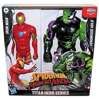 Marvel Titan Hero 12-inch Spider-Man Maximum Venom Series 2-Pack Iron Man vs Venomized Hulk: Toys & Games