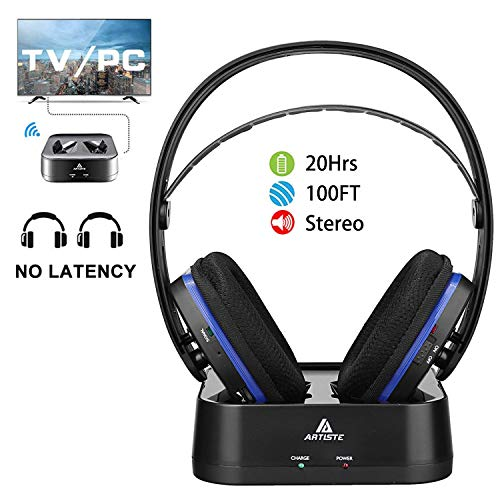 Wireless TV Headphones Over Ear Headsets – Digital Stereo Headsets with 2.4GHz RF Transmitter, Charging Dock, 100ft Wireless Range and Rechargeable 20 Hour Battery TV Headphone Wireless