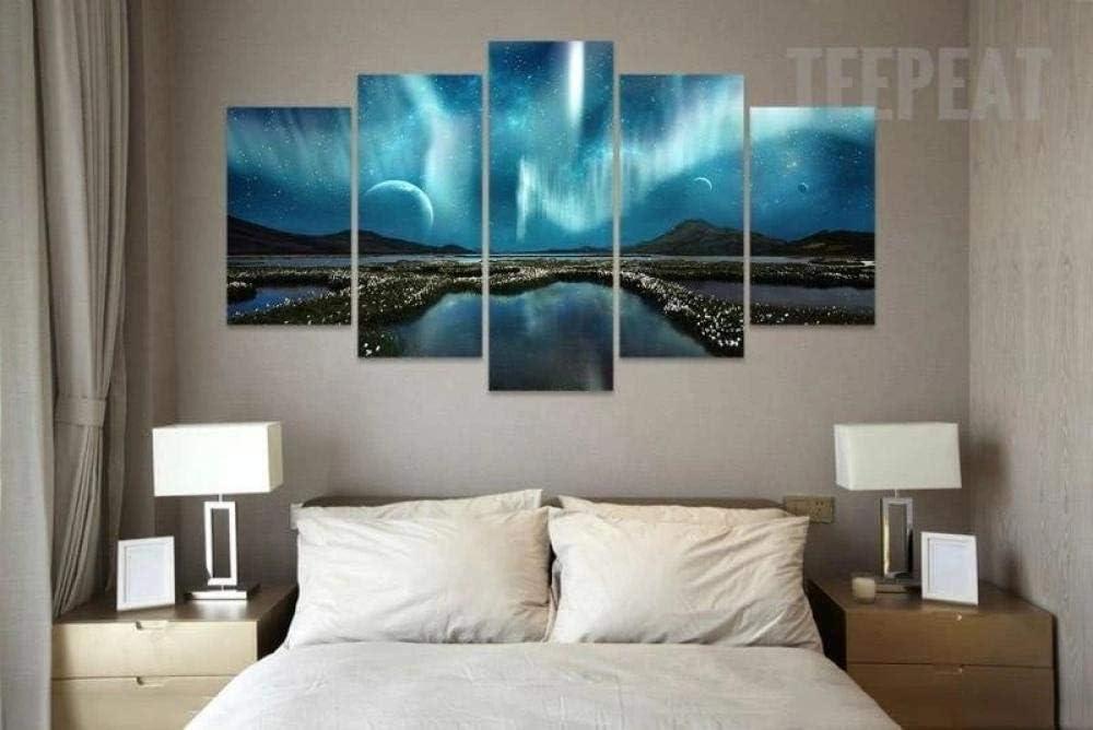 KOPASD Cuadros Modernos Impresión De Imagen Artística Digitalizada | Lienzo Decorativo para Tu Salón O Dormitorio | Aurora Borealis & Space | 5 Piezas 150X80Cm