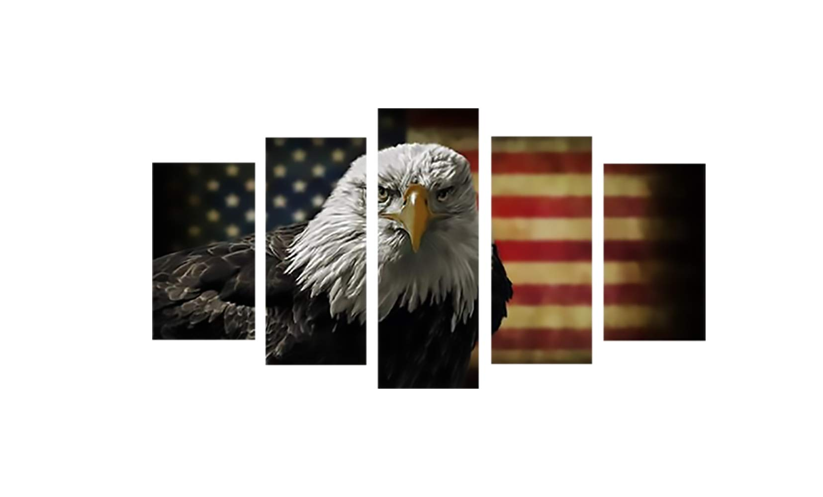 8e581d9d822 Garth Painting Canvas American Flag Eagle Hawk Decorative Wall Art Oil  Painting on Canvas Modern Artwork 5 Panels for Home Bedroom Living Room ...