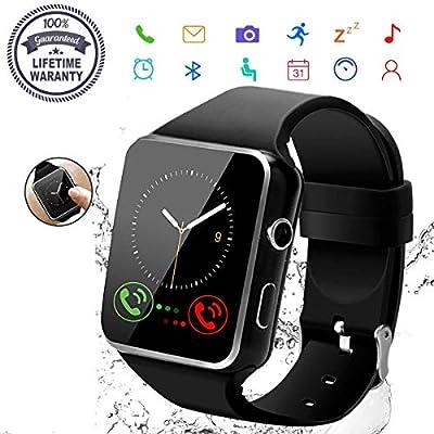 2019 Smart Watch,Bluetooth Smartwatch Touch Screen Wrist Watch with Camera/SIM Card Slot,Waterproof Smart Watch Sports Fitness Tracker Compatible (Black)