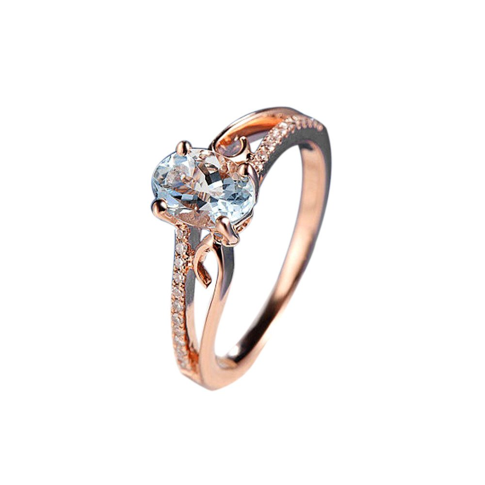 Keepfit Women's Exquisite Oval Ring Diamond Jewelry Bride Engagement Wedding Rings(Rose Gold,6) by Keepfit_Rings (Image #1)
