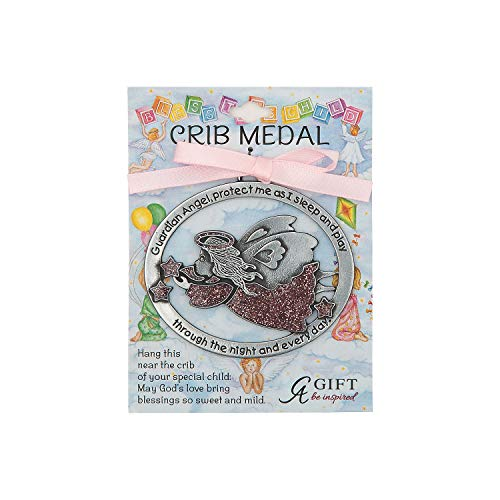Fun Express - Pink Guardian Angel Crib Medal - Home Decor - Gifts - Inspirational Gifts - 1 Piece