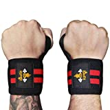 iDofit Wrist Wraps Support (Pair) – 18″ Professional Grade With Thumb Loop – Improve Hand Grip & Prevent Injury – Wrist Straps Braces for Weight Lifting, Powerlifting, Weight & Strength Training