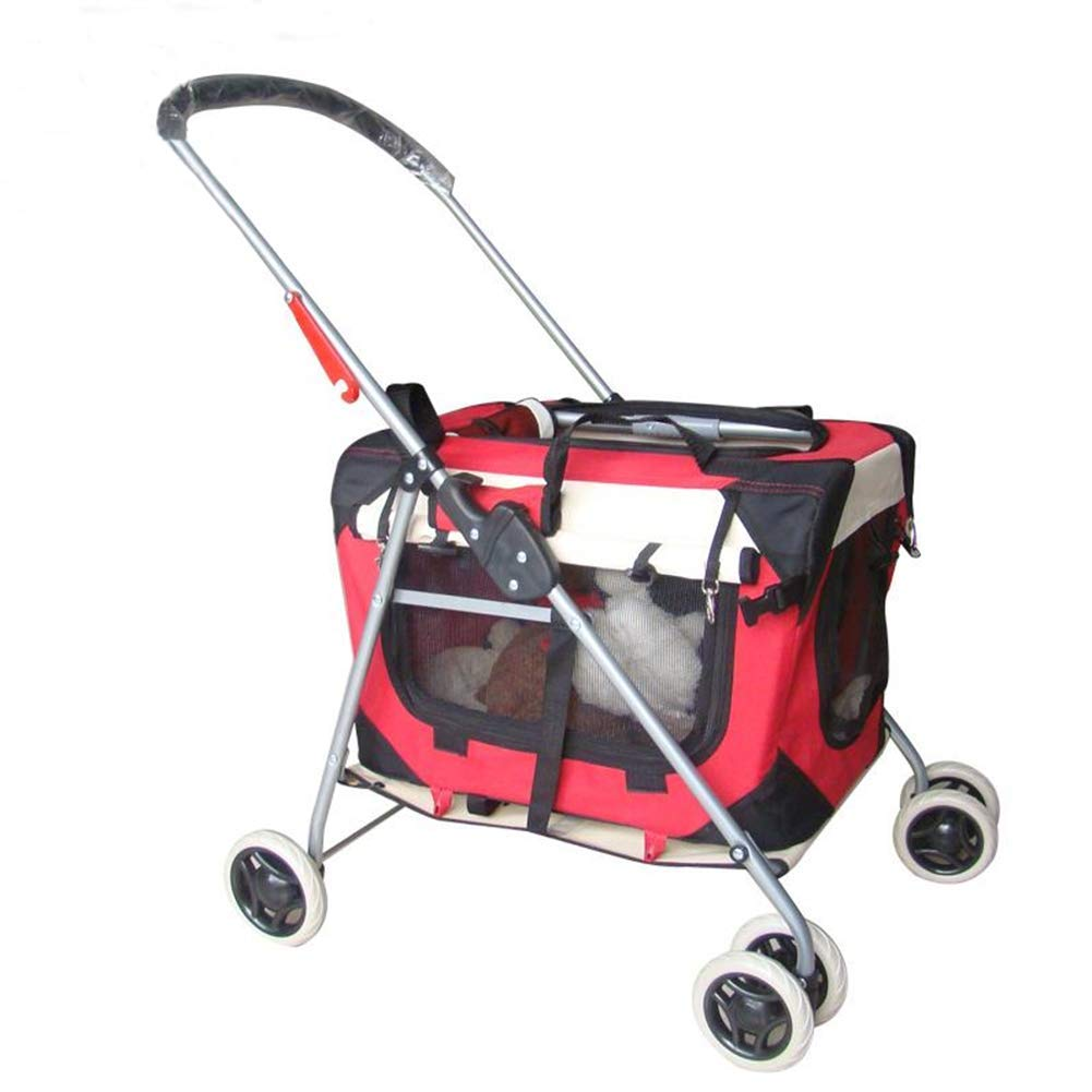 Red DJVD Pet Stroller Cat Cart Puppy Cart Small Light And Portable Foldable Separate Teddy Car Carryingcage .Load Capacity 15KG,Red