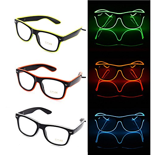Party Spotlights Fluorescent Flaring LED Glasses Bar Party Fluorescent Dance DJ Bright Glow Glasses EL Wire Neon LED Light Glow Atmosphere Activing Props (Random)