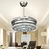 SBWYLT-Led Crystal ceiling fan lights, simple fashion fan chandelier creative bedroom living room fan l