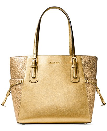 Michael Kors Womens Voyager East West Signature Tote Gold