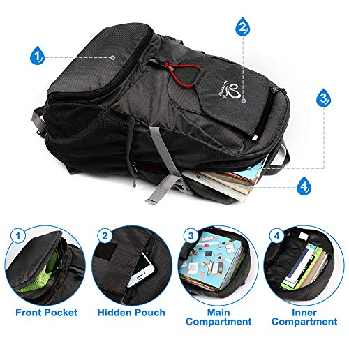 WATERFLY Packable Backpack Daypack for Men Women 20L Lightweight Travel Hiking Daypack