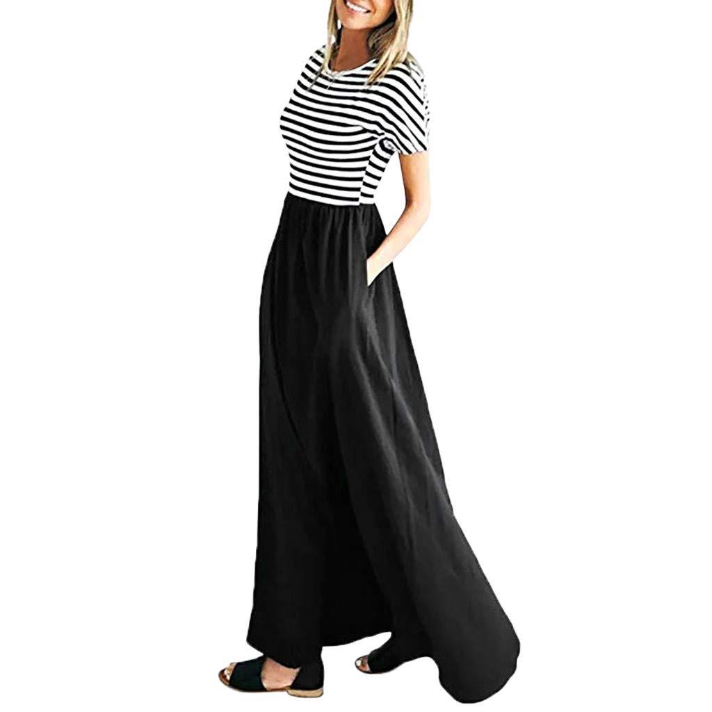 Uscharm Womens Casual Maxi Dress O-Neck Stripe Elastic Waist Short Sleeve Tunic Girls Dress With Pockets (Black, S) by Uscharm