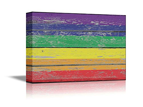 Gay Rainbow Pride Bar - wall26 - Canvas Prints Wall Art - Rainbow Flag/Gay Pride Flag/LGBT Pride Flag Vintage Wood Board - 32