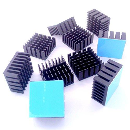 Easycargo 10pcs 20mm Heatsink Kit 20x20x10mm + 3M 8810 Thermal Conductive Adhesive Tape, Cooler Heat Sink for Cooling GPU IC Chips VRAM VGA RAM (20mmx20mmx10mm)
