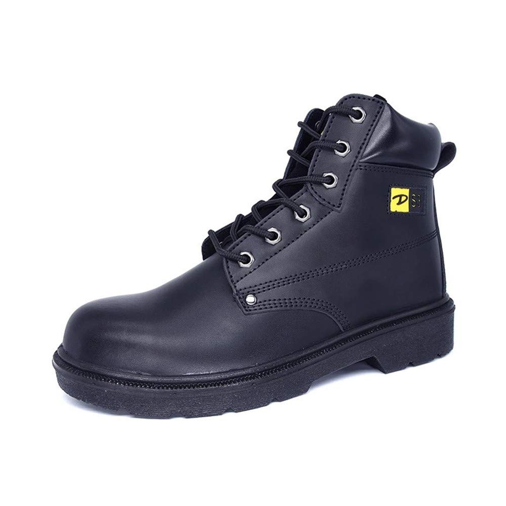 Ankle High Leather Safety Waterproof Boots Steel Toe Cap Work Shoes for Men (8) Black