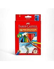 Faber-Castell PL116538 30-Pieces Junior Triangular Colour Pencils with Sharpener,Assorted