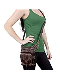 SmartHS Vintage Women PU Leather Motorcycle Bag Steampunk Shoulder Waist Bag Thigh Holster Bag Brown