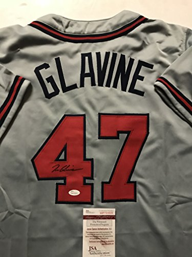 (Autographed/Signed Tom Glavine Atlanta Grey Baseball Jersey JSA COA)
