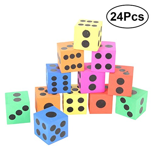 TOYMYTOY 24pcs Jumbo Foam Playing Dice Party Favor Playing Toy Educational Toy for Kids Children by TOYMYTOY
