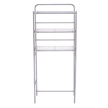 Tangkula 3 Tier Toilet Shelf Bathroom Space Saver Chrome Over The Toilet  Shelf Organizer Multi