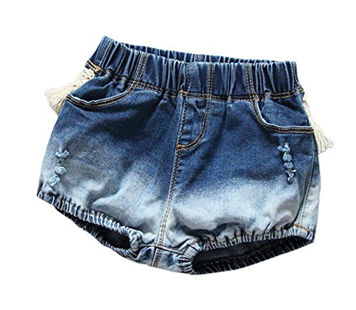 Kids Baby Girls Lace Tassel Denim Shorts Jean Bloomers 1-6Y (1-2 Years, A)