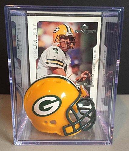 Green Bay Packers NFL Helmet Shadowbox w/ Brett Favre card Riddell