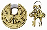 Round Eagle Engraved Padlock Gold Tone Brass Metal Home Decor Handcrafted Locks With 2 Keys