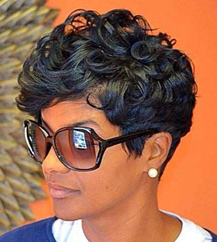 HOTKIS Human Hair Short Curly Wigs Glueless Short Pixie Human Hair Curly Wigs Human Hair Short Wigs for Women (Short Curly-black) (Short Hair For Women With Thick Hair)