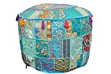 Indian Home Decor Art Ottoman Pouf Cover Pouffe Decorative Foot Stool Covers Traditional Handmade Cotton Living Room Ottomans Round Comfortable Embroidered PatchWork Floor Cushion 22''x14'' (Turquoise)