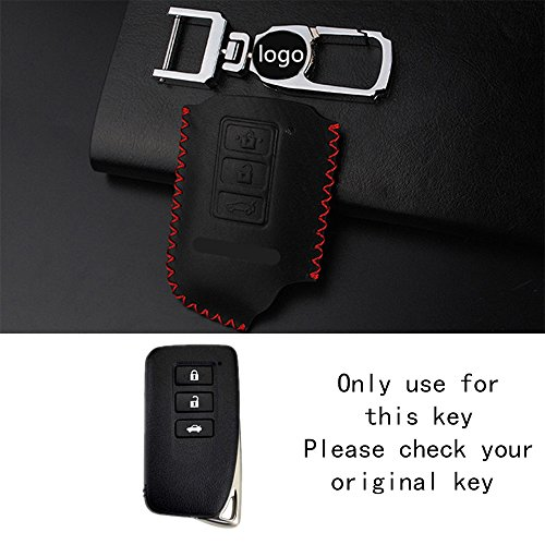 - RAOPING Car smart key cover case holder for Lexus IS ES GS NX GX RX LX RC RX270 NX200 3 buttons Auto Remote Control Keychain Key bag ring 3 Buttons car styling (Black Red line)