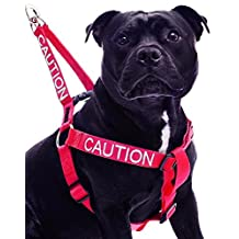 """CAUTION"" Red Color Coded Nylon Non Pull Dog harness (DO NOT APPROACH) PREVENTS Dog Accidents By Warning Others Of Your Dog In Advance! Strong As Leather & Chain by Dexil"