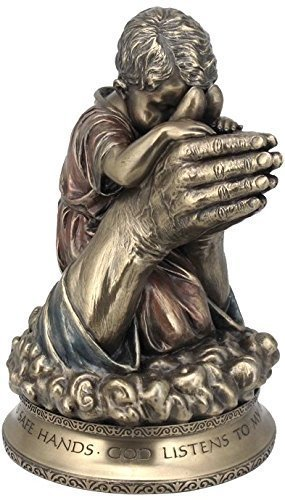 7.25 Inch Praying in The Hands of God Cold Cast Bronze Figurine Praying Hands Sculpture