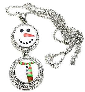 Pizazz Studios Double Snap Charm Snowman Necklace 24 Inch