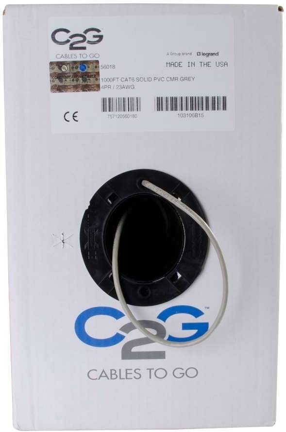 1000 Feet, 304.8 Meters Gray TAA Compliant Unshielded Ethernet Network Cable with Solid Conductors C2G 56018 Cat6 Bulk Cable Riser CMR-Rated Made in The USA
