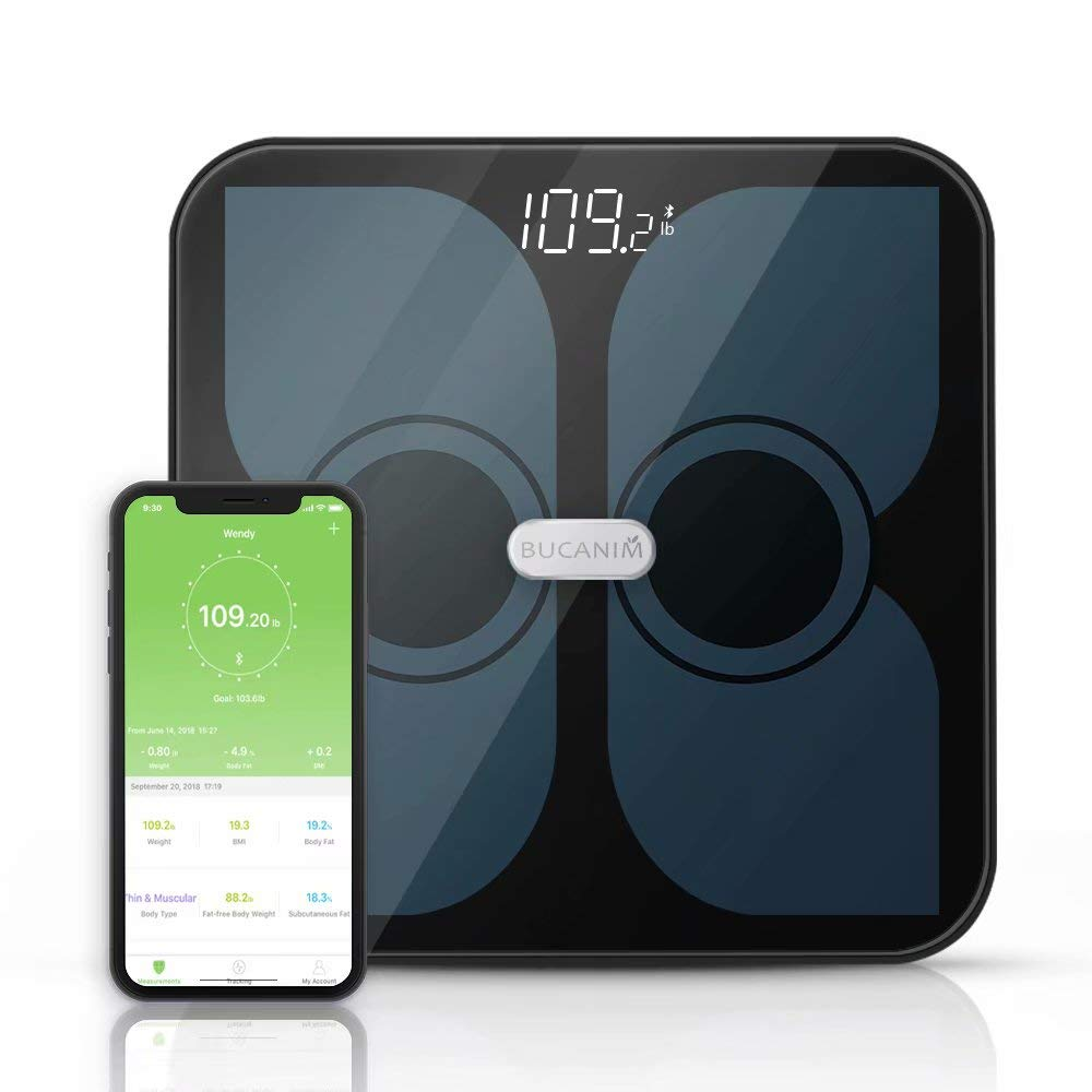 Bathroom Smart Scale Analyzer, Fat Scale Digital Bathroom Weighing - Wireless Smart Body Scale Composition Monitor Compatible Weight, Fat, Water, BMI, BMR, Muscle Mass with App Tracker by bucanim