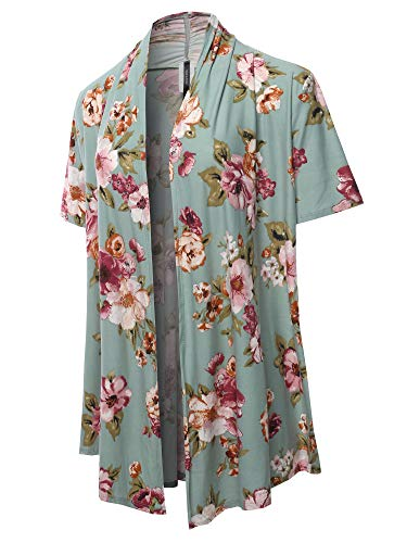 (Solid Knit Draped Open Front Short Sleeves Cardigan Floral Sage Magenta L)