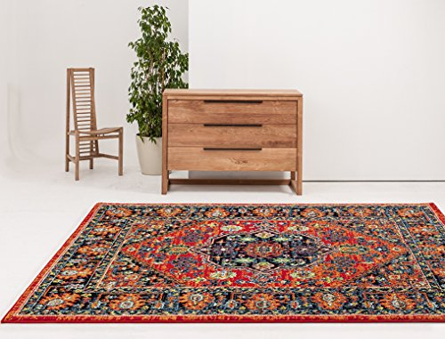 ADGO Siena Collection Traditional Oriental Live Vivid Red Orange Colorful Shabby Chic Shed Free Living Dining Bedroom Area Rug 4 x 6