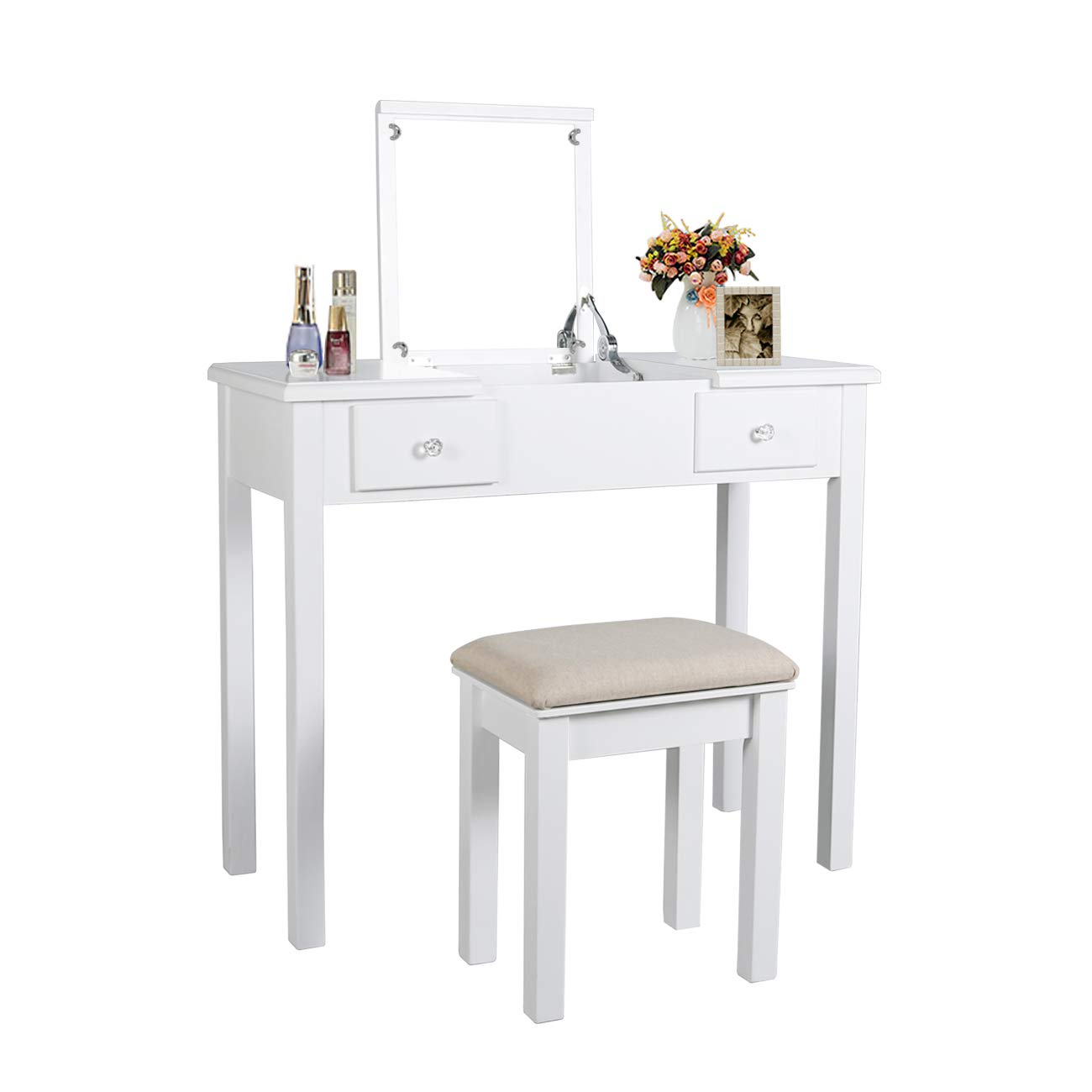 Vanity Set with Flip Top Mirror Makeup Dressing Table Removable Makeup Table Organization Writing Desk with 2 Drawers 3 Dividers Organizers Cushioned (White)
